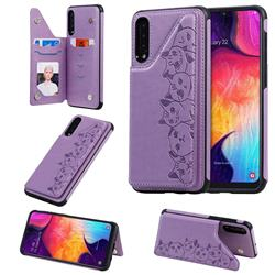 Yikatu Luxury Cute Cats Multifunction Magnetic Card Slots Stand Leather Back Cover for Samsung Galaxy A50 - Purple