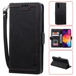 Luxury Retro Stitching Leather Wallet Phone Case for Samsung Galaxy A50 - Black