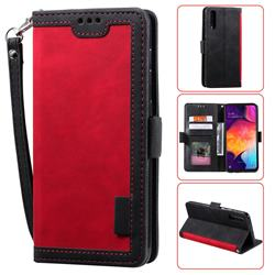 Luxury Retro Stitching Leather Wallet Phone Case for Samsung Galaxy A50 - Deep Red