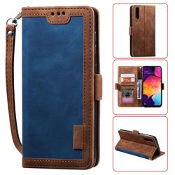 Luxury Retro Stitching Leather Wallet Phone Case for Samsung Galaxy A50 - Dark Blue