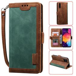 Luxury Retro Stitching Leather Wallet Phone Case for Samsung Galaxy A50 - Dark Green