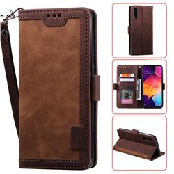 Luxury Retro Stitching Leather Wallet Phone Case for Samsung Galaxy A50 - Dark Brown