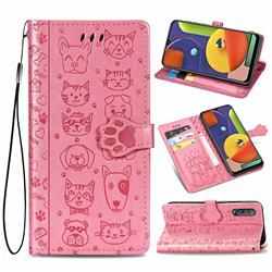 Embossing Dog Paw Kitten and Puppy Leather Wallet Case for Samsung Galaxy A50 - Pink