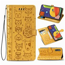 Embossing Dog Paw Kitten and Puppy Leather Wallet Case for Samsung Galaxy A50 - Yellow