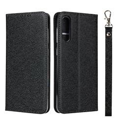 Ultra Slim Magnetic Automatic Suction Silk Lanyard Leather Flip Cover for Samsung Galaxy A50 - Black