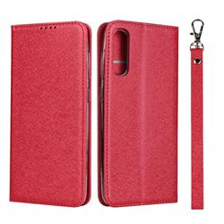 Ultra Slim Magnetic Automatic Suction Silk Lanyard Leather Flip Cover for Samsung Galaxy A50 - Red