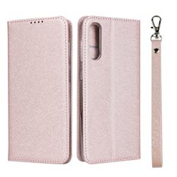 Ultra Slim Magnetic Automatic Suction Silk Lanyard Leather Flip Cover for Samsung Galaxy A50 - Rose Gold