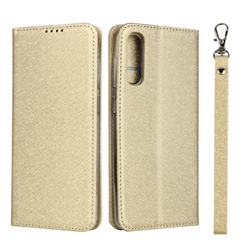 Ultra Slim Magnetic Automatic Suction Silk Lanyard Leather Flip Cover for Samsung Galaxy A50 - Golden