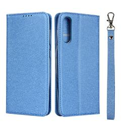 Ultra Slim Magnetic Automatic Suction Silk Lanyard Leather Flip Cover for Samsung Galaxy A50 - Sky Blue