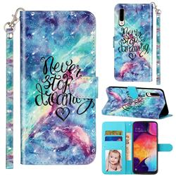 Blue Starry Sky 3D Leather Phone Holster Wallet Case for Samsung Galaxy A50