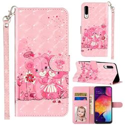 Pink Bear 3D Leather Phone Holster Wallet Case for Samsung Galaxy A50