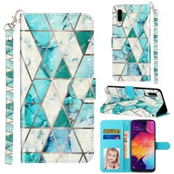 Stitching Marble 3D Leather Phone Holster Wallet Case for Samsung Galaxy A50