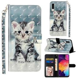 Kitten Cat 3D Leather Phone Holster Wallet Case for Samsung Galaxy A50