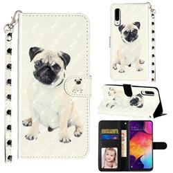 Pug Dog 3D Leather Phone Holster Wallet Case for Samsung Galaxy A50