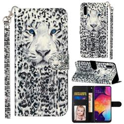 White Leopard 3D Leather Phone Holster Wallet Case for Samsung Galaxy A50