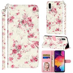 Rambler Rose Flower 3D Leather Phone Holster Wallet Case for Samsung Galaxy A50