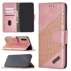 BinfenColor BF04 Color Block Stitching Crocodile Leather Case Cover for Samsung Galaxy A50 - Rose Gold