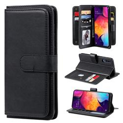 Multi-function Ten Card Slots and Photo Frame PU Leather Wallet Phone Case Cover for Samsung Galaxy A50 - Black