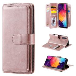 Multi-function Ten Card Slots and Photo Frame PU Leather Wallet Phone Case Cover for Samsung Galaxy A50 - Rose Gold
