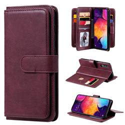Multi-function Ten Card Slots and Photo Frame PU Leather Wallet Phone Case Cover for Samsung Galaxy A50 - Claret