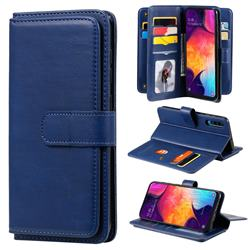 Multi-function Ten Card Slots and Photo Frame PU Leather Wallet Phone Case Cover for Samsung Galaxy A50 - Dark Blue