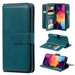 Multi-function Ten Card Slots and Photo Frame PU Leather Wallet Phone Case Cover for Samsung Galaxy A50 - Dark Green