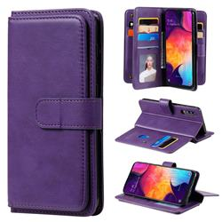 Multi-function Ten Card Slots and Photo Frame PU Leather Wallet Phone Case Cover for Samsung Galaxy A50 - Violet