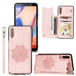 Luxury Mandala Multi-function Magnetic Card Slots Stand Leather Back Cover for Samsung Galaxy A50 - Rose Gold