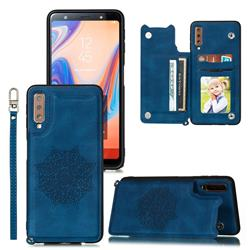 Luxury Mandala Multi-function Magnetic Card Slots Stand Leather Back Cover for Samsung Galaxy A50 - Blue
