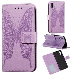 Intricate Embossing Vivid Butterfly Leather Wallet Case for Samsung Galaxy A50 - Purple