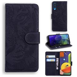 Intricate Embossing Tiger Face Leather Wallet Case for Samsung Galaxy A50 - Black