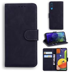 Retro Classic Skin Feel Leather Wallet Phone Case for Samsung Galaxy A50 - Black