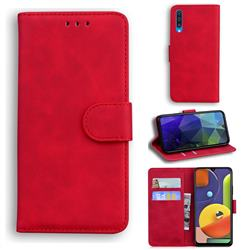 Retro Classic Skin Feel Leather Wallet Phone Case for Samsung Galaxy A50 - Red