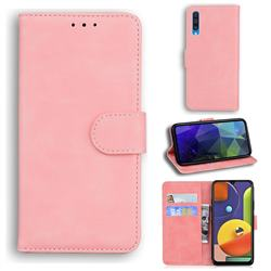 Retro Classic Skin Feel Leather Wallet Phone Case for Samsung Galaxy A50 - Pink