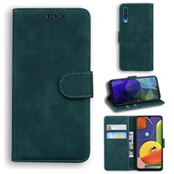 Retro Classic Skin Feel Leather Wallet Phone Case for Samsung Galaxy A50 - Green