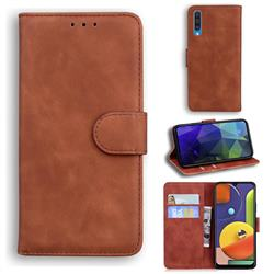 Retro Classic Skin Feel Leather Wallet Phone Case for Samsung Galaxy A50 - Brown