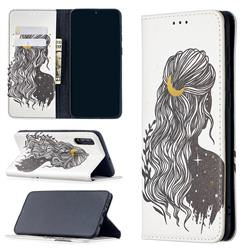 Girl with Long Hair Slim Magnetic Attraction Wallet Flip Cover for Samsung Galaxy A50