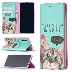 Hand Up Cat Slim Magnetic Attraction Wallet Flip Cover for Samsung Galaxy A50