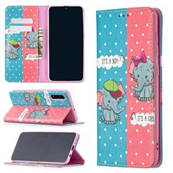 Elephant Boy and Girl Slim Magnetic Attraction Wallet Flip Cover for Samsung Galaxy A50