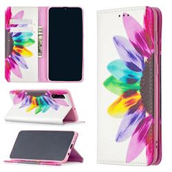 Sun Flower Slim Magnetic Attraction Wallet Flip Cover for Samsung Galaxy A50