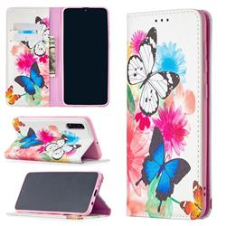Flying Butterflies Slim Magnetic Attraction Wallet Flip Cover for Samsung Galaxy A50