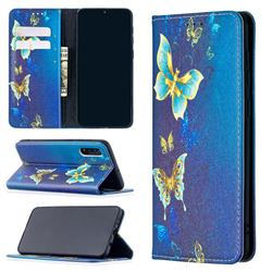 Gold Butterfly Slim Magnetic Attraction Wallet Flip Cover for Samsung Galaxy A50