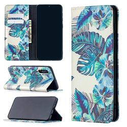 Blue Leaf Slim Magnetic Attraction Wallet Flip Cover for Samsung Galaxy A50