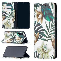 Flower Leaf Slim Magnetic Attraction Wallet Flip Cover for Samsung Galaxy A50