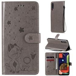 Embossing Bee and Cat Leather Wallet Case for Samsung Galaxy A50 - Gray