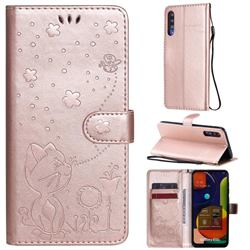 Embossing Bee and Cat Leather Wallet Case for Samsung Galaxy A50 - Rose Gold