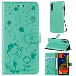 Embossing Bee and Cat Leather Wallet Case for Samsung Galaxy A50 - Green