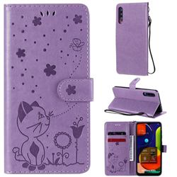 Embossing Bee and Cat Leather Wallet Case for Samsung Galaxy A50 - Purple