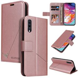 GQ.UTROBE Right Angle Silver Pendant Leather Wallet Phone Case for Samsung Galaxy A50 - Rose Gold