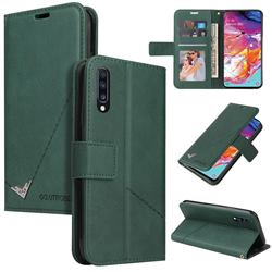 GQ.UTROBE Right Angle Silver Pendant Leather Wallet Phone Case for Samsung Galaxy A50 - Green